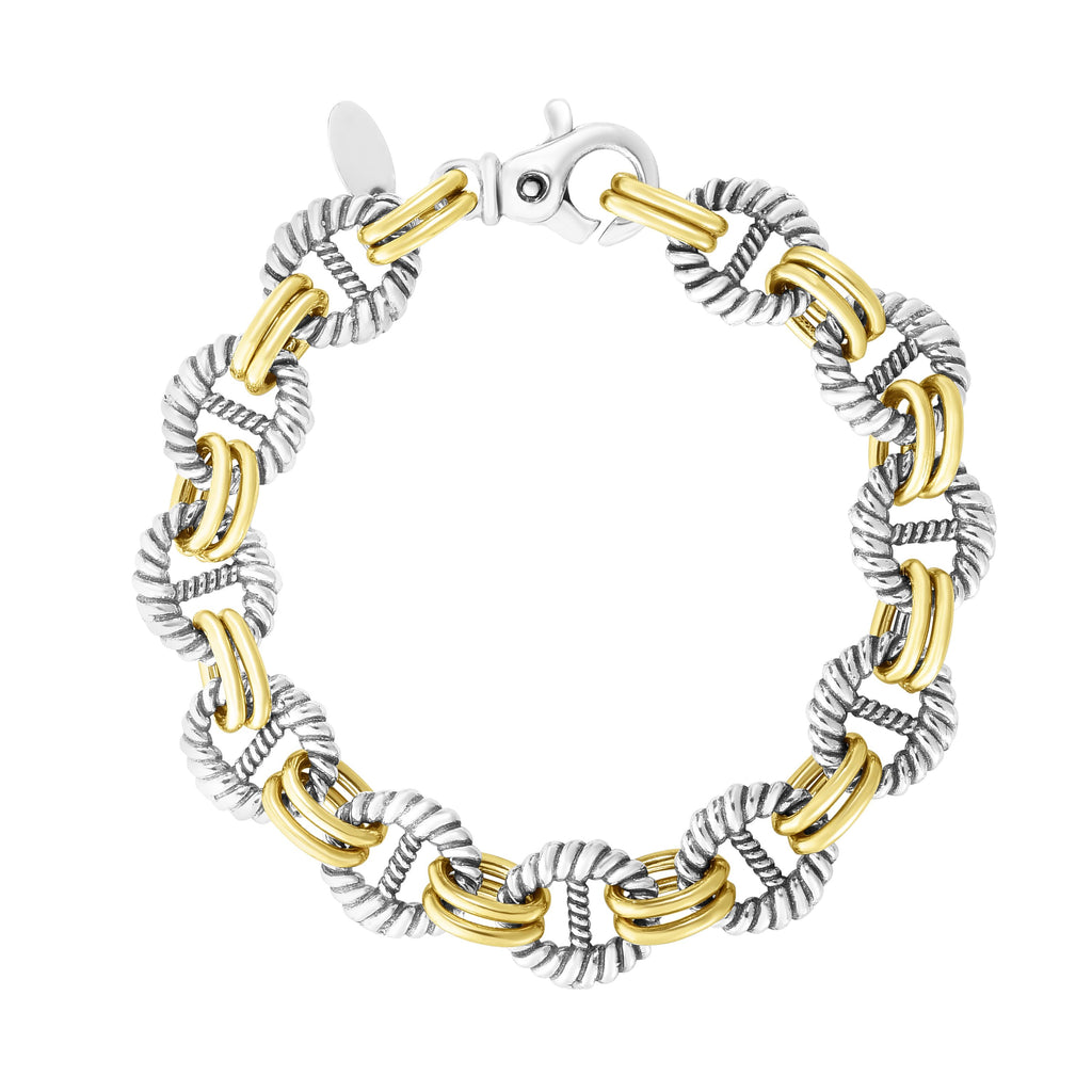 18kt+Silver 8 inches Yellow+Rhodium Finish 12.5mm Polished Bracelet with Lobster Clasp