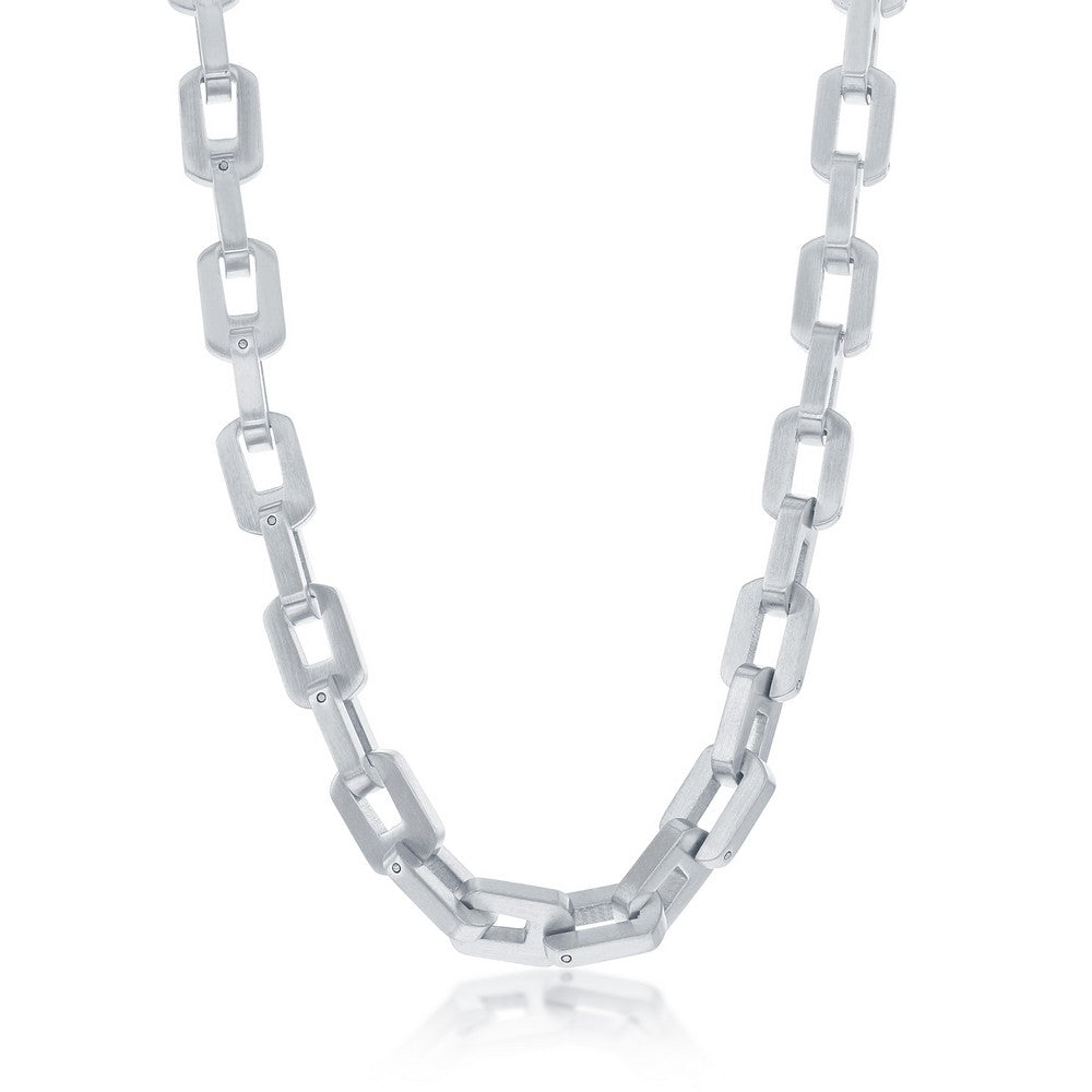 Stainless Steel Matte Linked Necklace