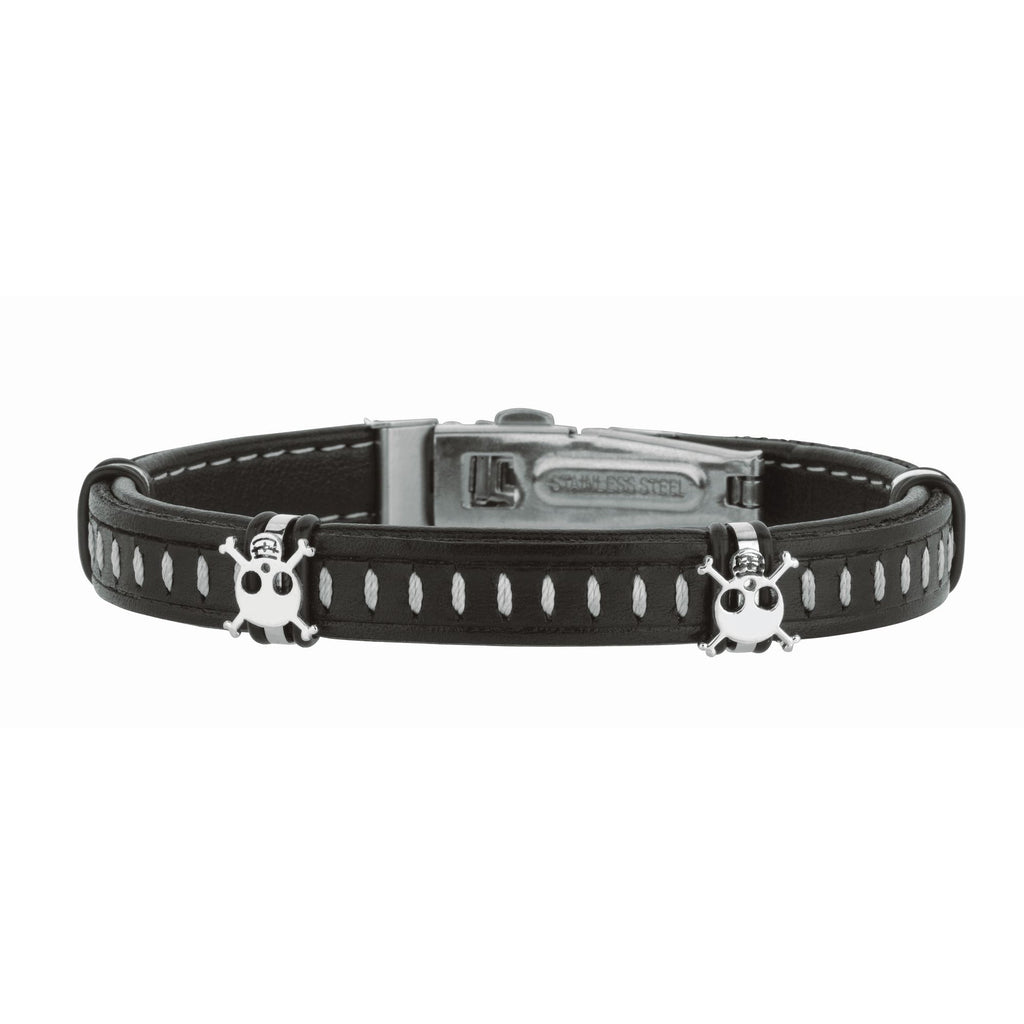 Stainless Steel 8.5 inches Shiny Dark Brown Joseph Tyler Collection Leather Bracelet w ith Deployment Clasp+White Skull