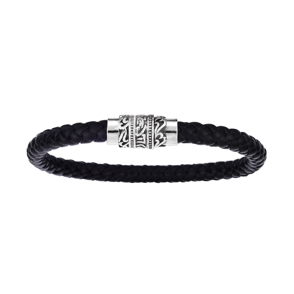 Stainless Steel 8.25 inches Oxidized Finish 6.4mm Black Braided Leather Bracelet with Magnetic Buckle Clasp with Oil