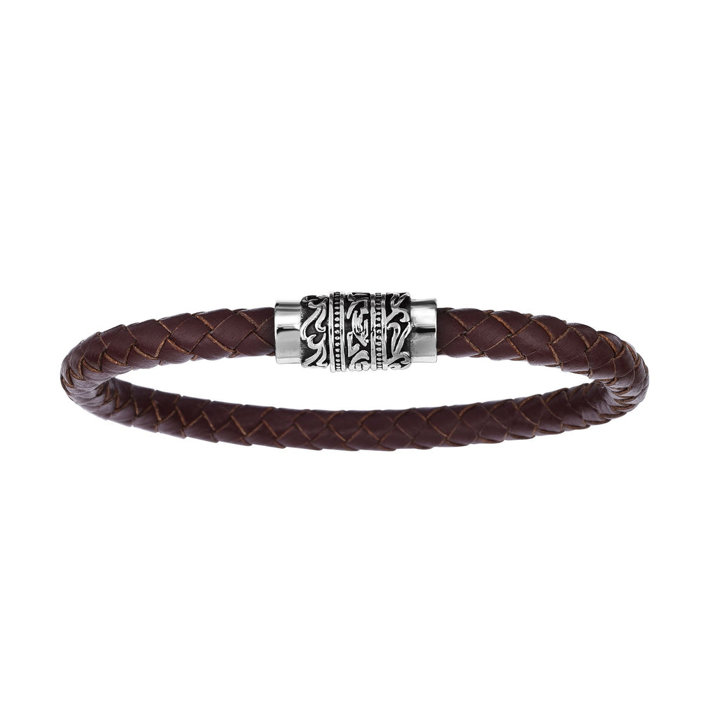 Stainless Steel 8.25 inches Oxidized Finish 6.4mm Brown Braided Leather Bracelet with Magnetic Buckle Clasp with Oil