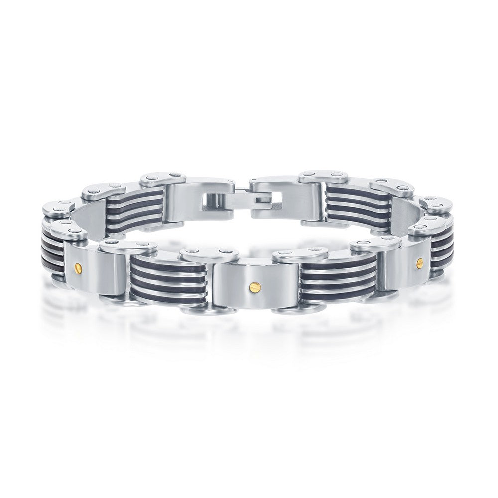Stainless Steel & Rubber Bar-Look Bracelet with Gold-Plated Screw