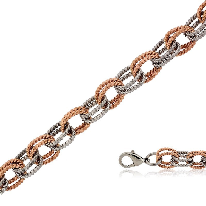 Stainless Steel and Rose Gold Alternating Double Linked Bracelet