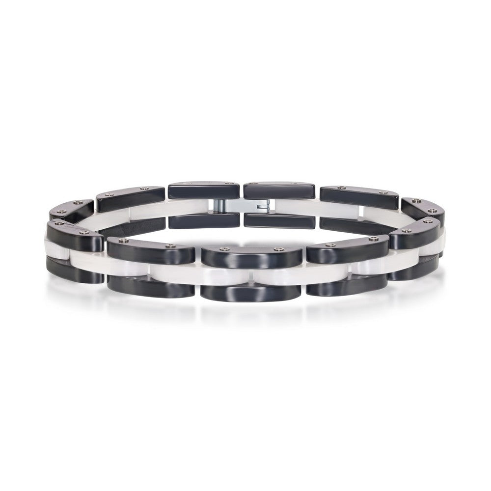 Stainless Steel Black and White Link Bracelet