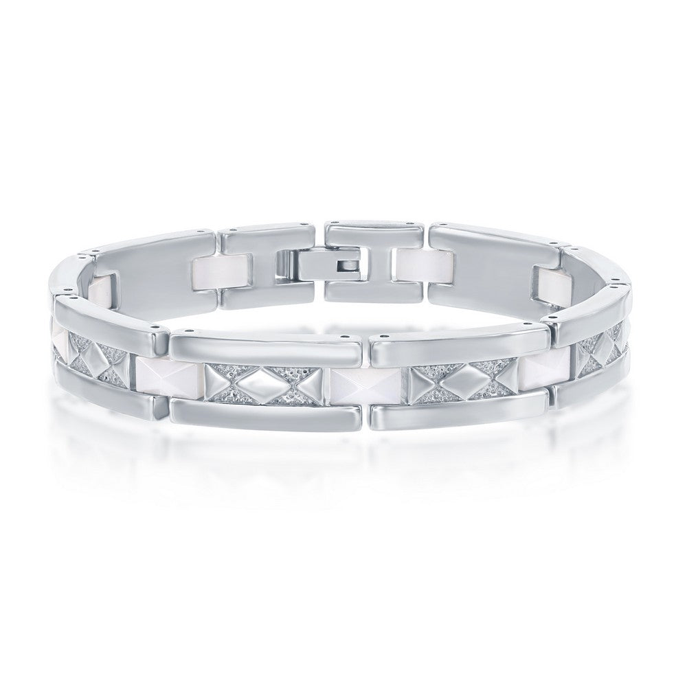 Stainless Steel White Ceramic w/ Diamond-Shaped Design Bracelet