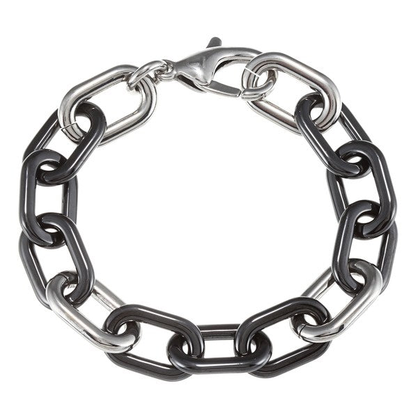 Stainless Steel Rectangular Black Ceramic and Silvertone Link Bracelet