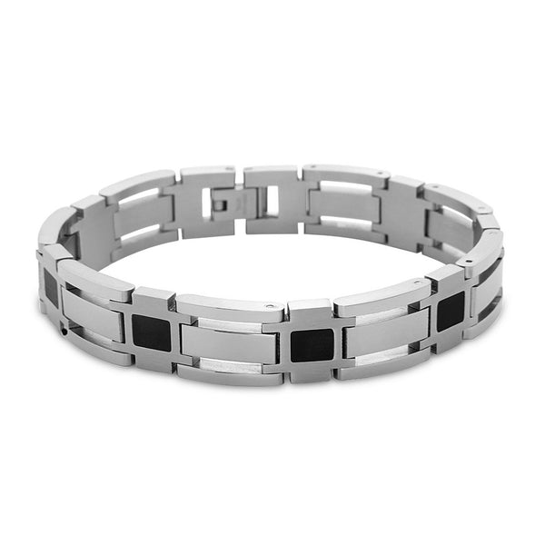 Stainless Steel Open Links with Black Squares Bracelet