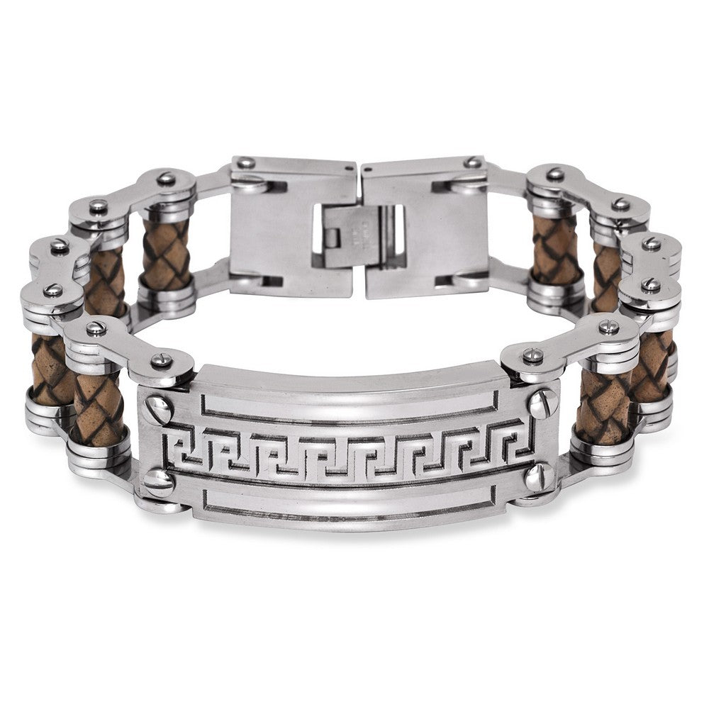 Stainless Steel Wide Tan Braided Leather Greek Key Bar Bracelet