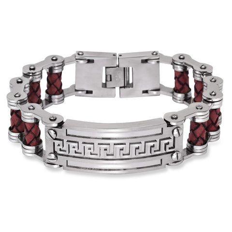 Stainless Steel Wide Red Braided Leather Greek Key Bar Bracelet