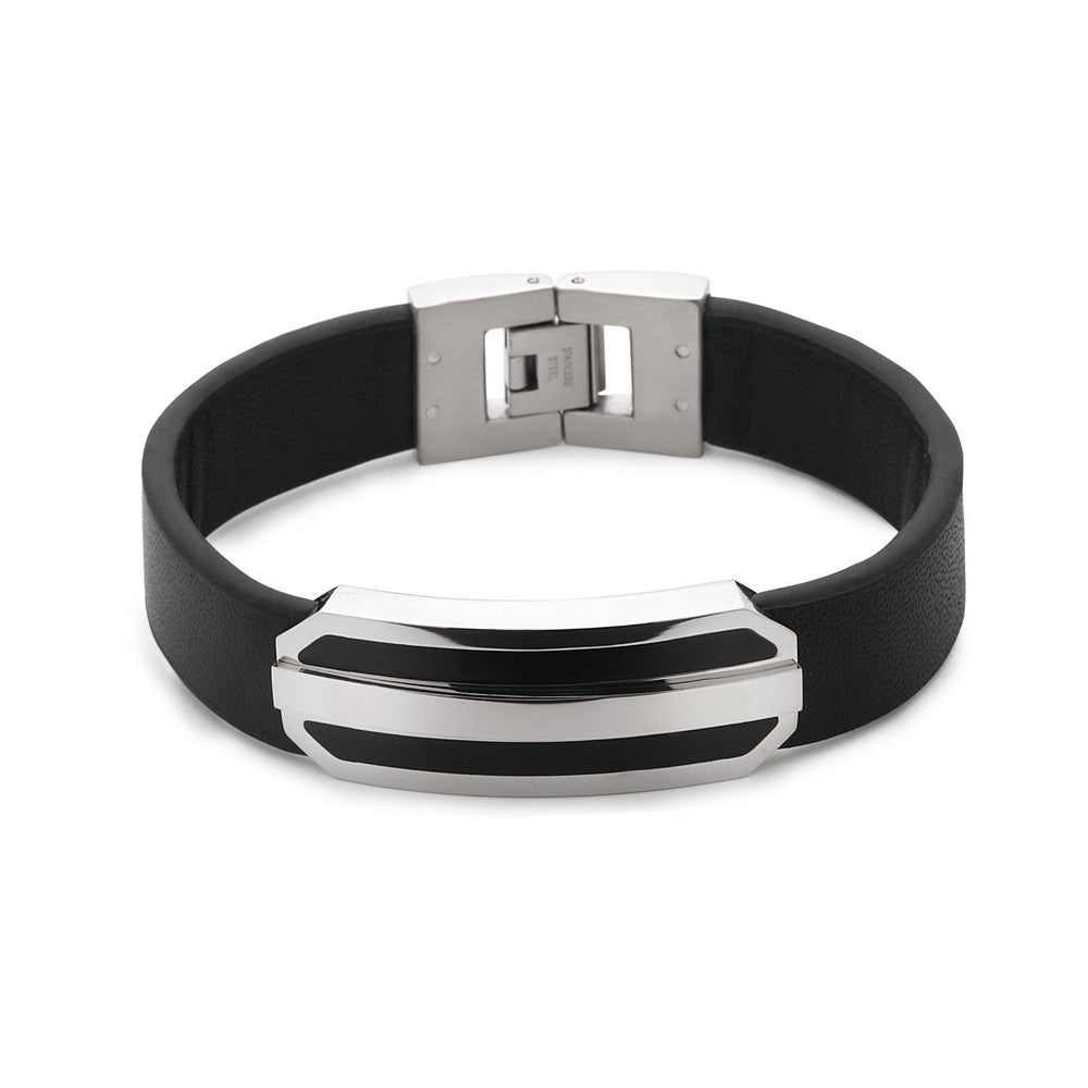 Stainless Steel Black Leather Strap with Lined Bar Center Bracelet
