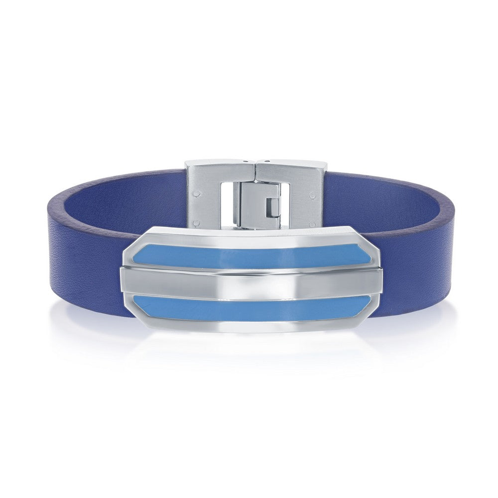 "Stainless Steel 8"" Blue Leather Strap with Lined Bar Center Bracelet"