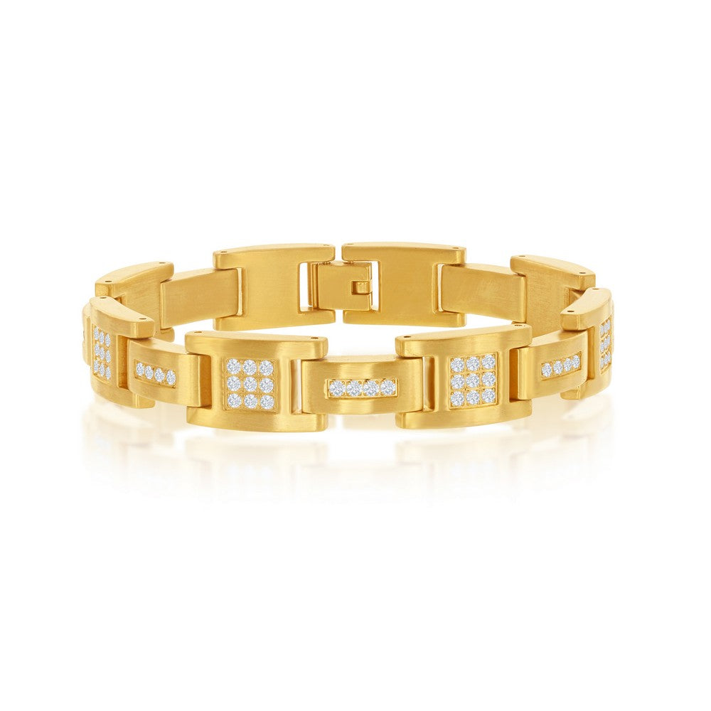 Stainless Steel Matte Gold Plated CZ Link Bracelet