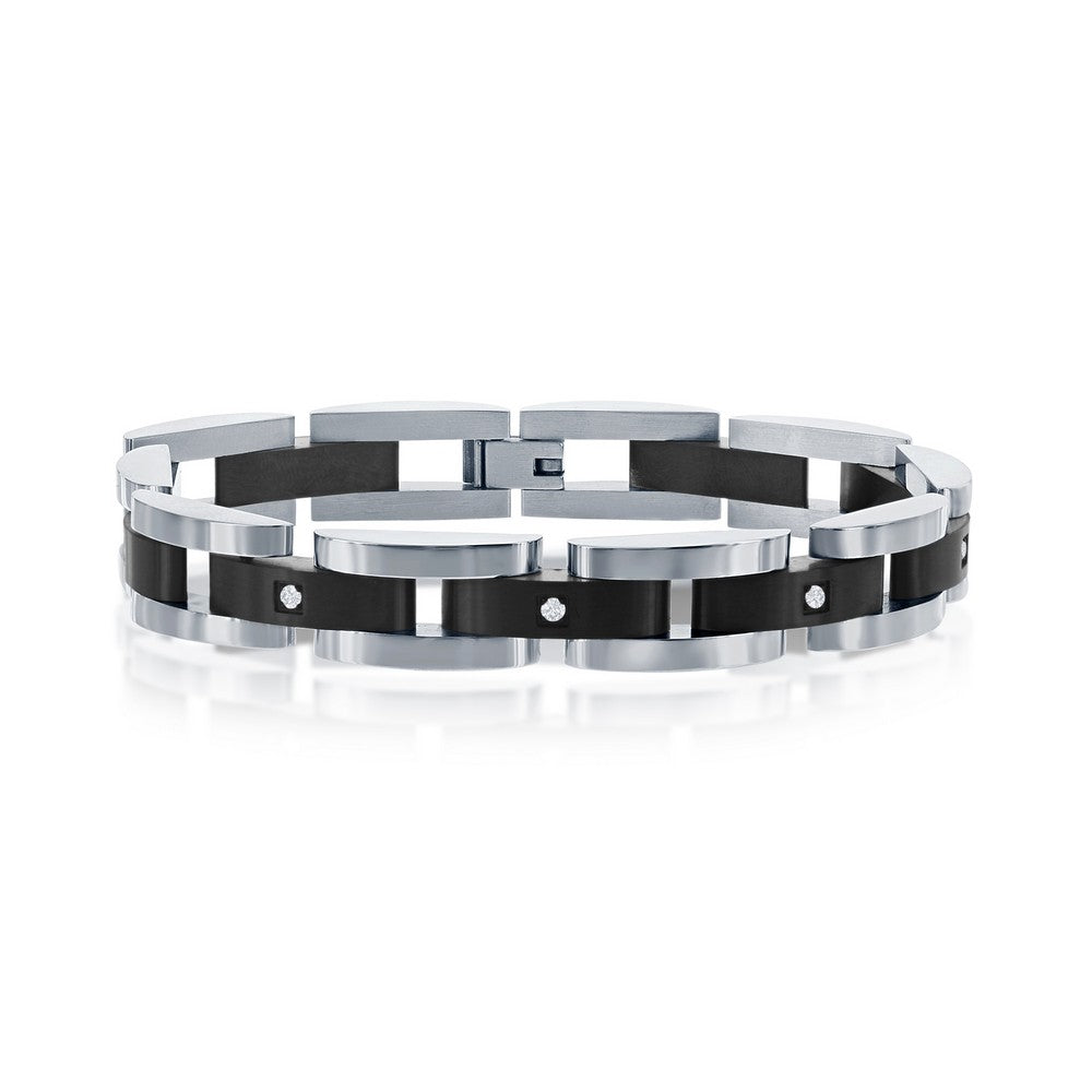 Stainless Steel Black with 5 CZ's Link Bracelet