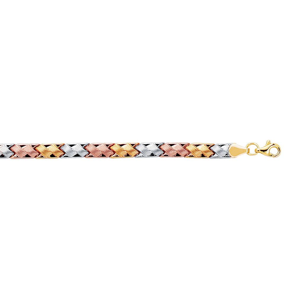 14kt 7.25 inches Yellow+White+Rose Gold Textured Shiny Tri Color Weaved Type Bracelet with Pear Shape Clasp