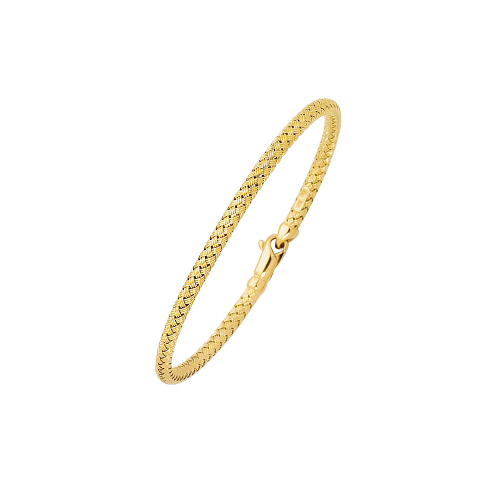 14kt 7.25 inches Yellow Gold Shiny Round Basket Weaved Bangle with Lobster Clasp