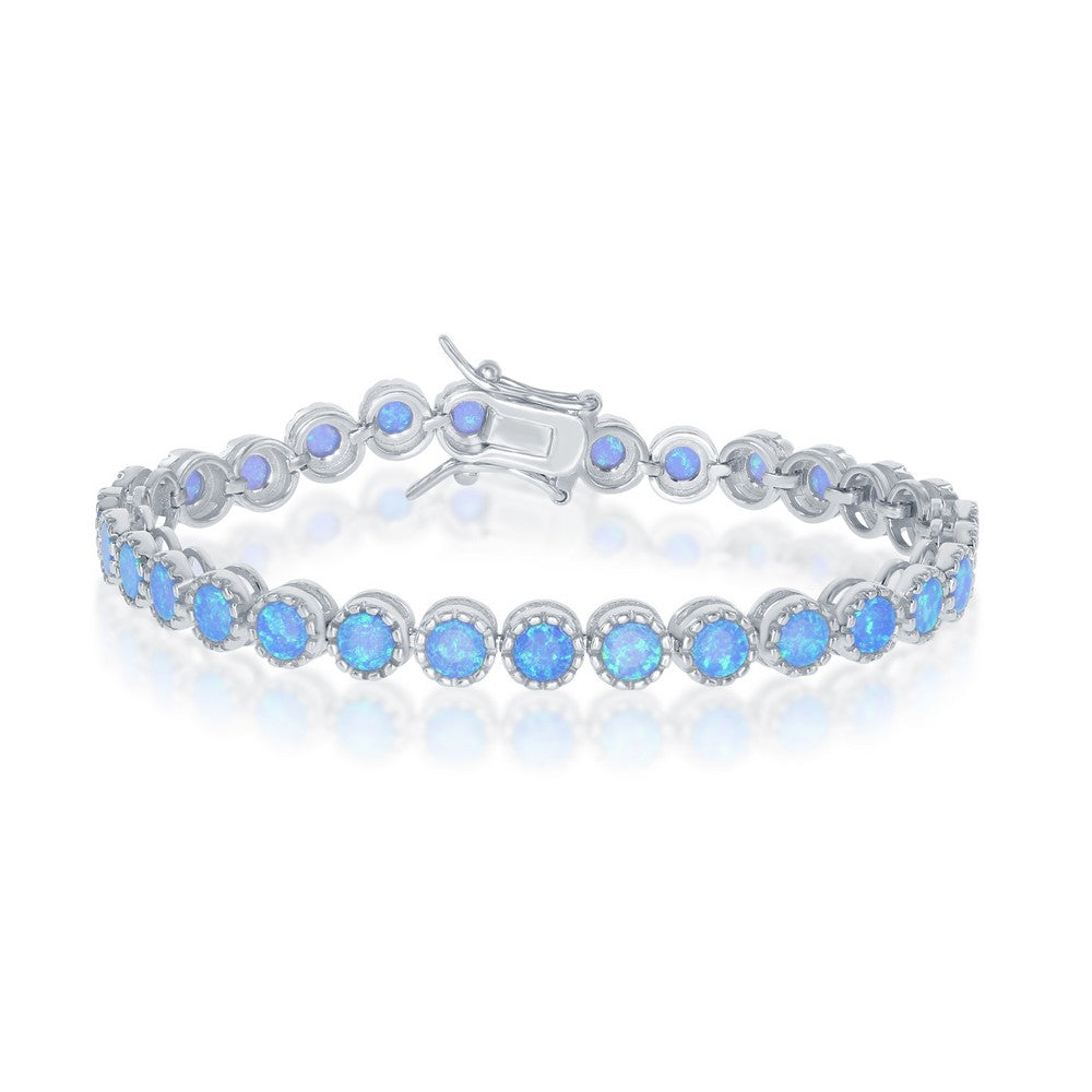 Sterling Silver Round Blue Inlay Opal With Beaded Border Tennis Bracelet