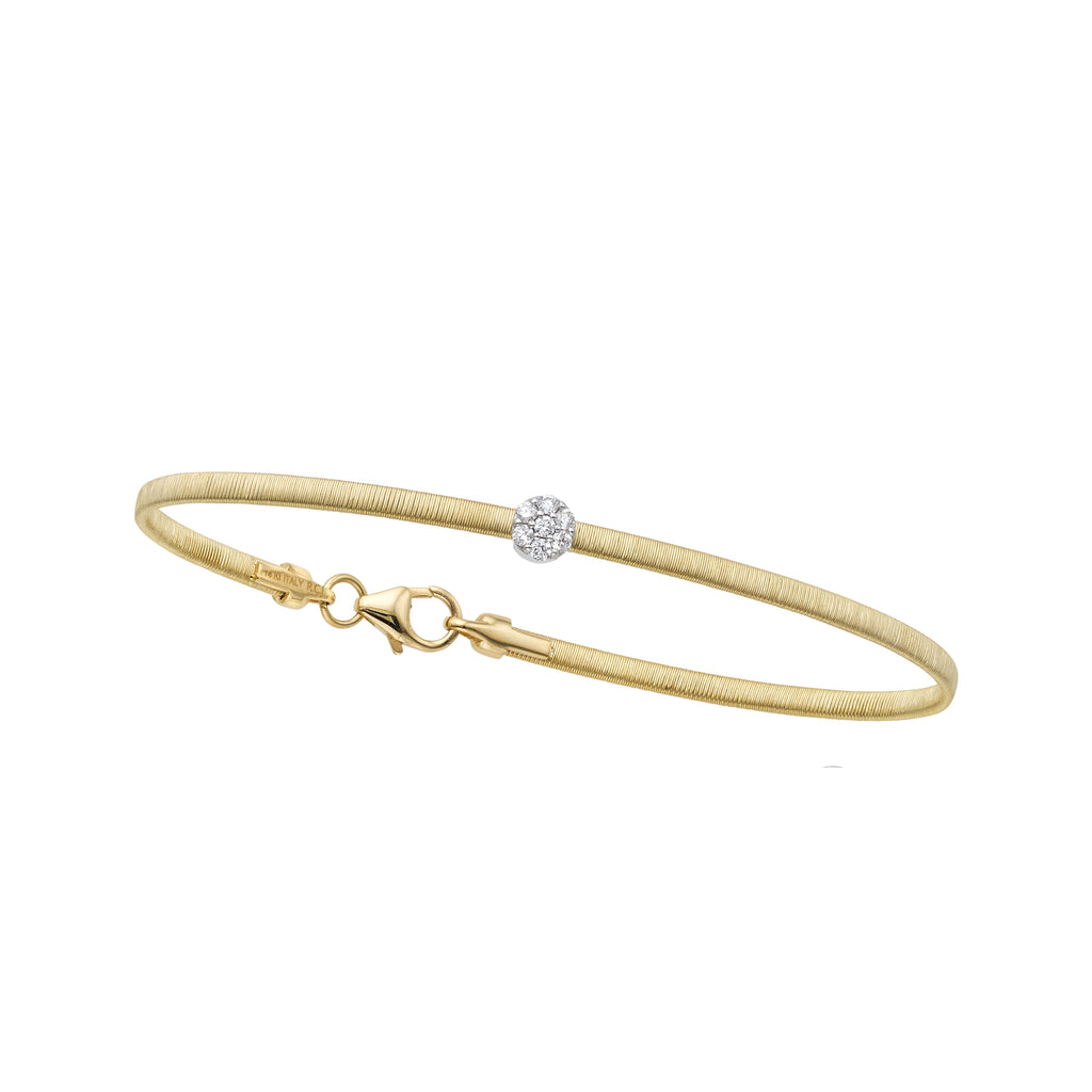 14kt Gold 7 inches Yellow+White Finish 4.5mm(CE),2.2mm(Ch) Brushed Bangle with Lobster Clasp with 0.1000ct 1.5mm White Diamond