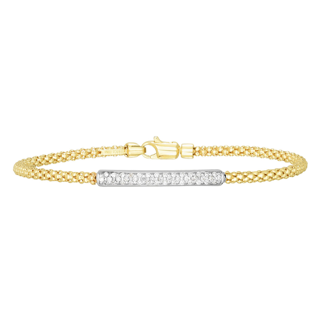 14kt Gold 7 inches Yellow+White Finish 3.5x28mm(CE),2.7mm(Ch) Polished Popcorn with Center Bar Bangle with Lobster Clasp with 0.2150ct 1mm White Diamond