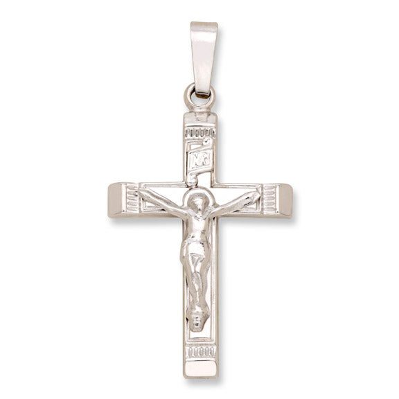 "14kt White Gold Crucifix - Hollow - 1"" x 1/2"""