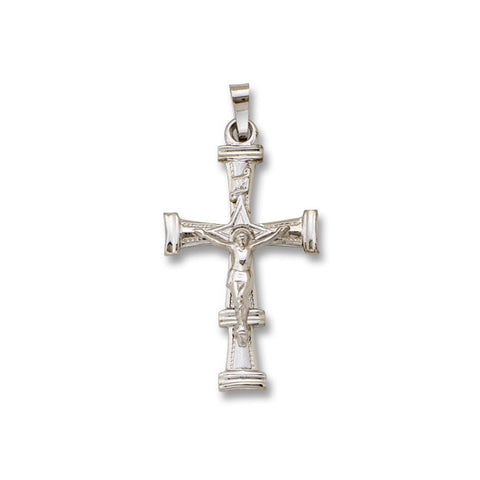 "14kt White Gold Crucifix Cross - Solid - 1 3/8"" x 3/4"""
