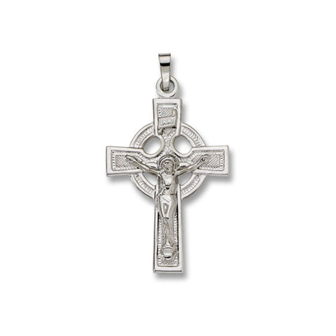 14kt White Gold Crucifix - Solid - Celtic - 1 1/2' x 13/16""