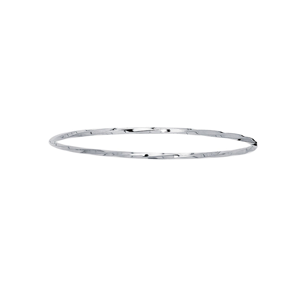14kt 8 inches White Gold 2.50mm Shiny Twisted Round Tube Stackable Bangle