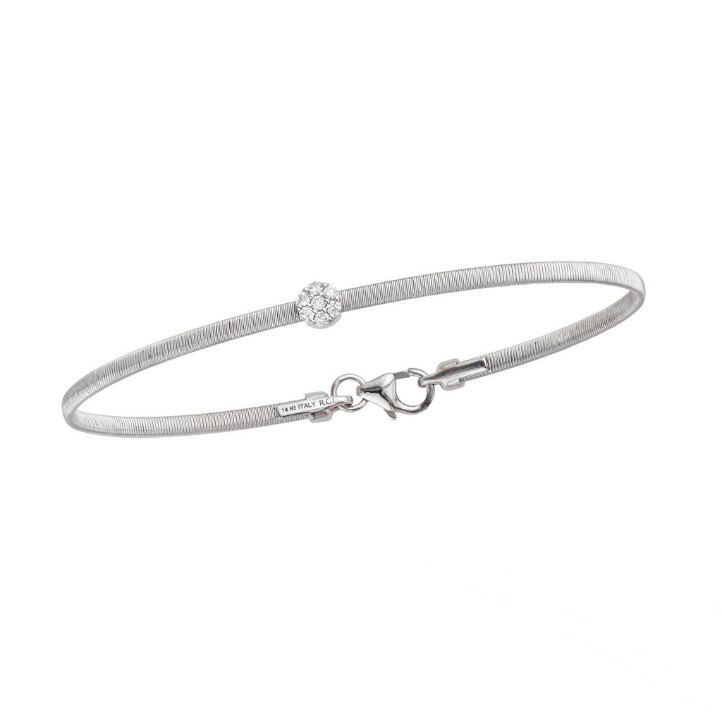 14kt Gold 7 inches White Finish 4.5mm(CE),2.2mm(Ch) Brushed Bangle with Lobster Clasp with 0.1000ct 1.5mm White Diamond