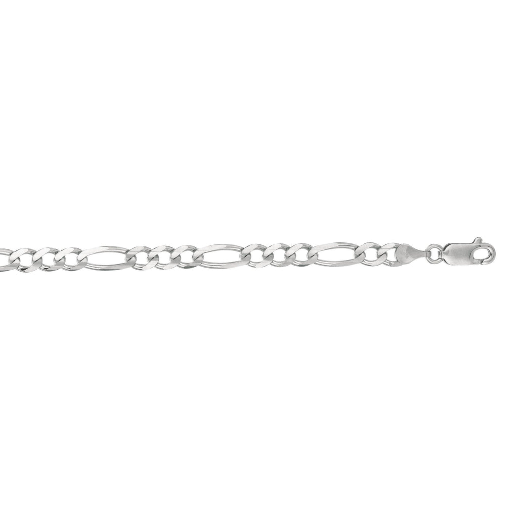 14kt 8 inches White Gold 4.6mm Diamond Cut Alternate 3+1 Classic Figaro Chain with Lobster Clasp