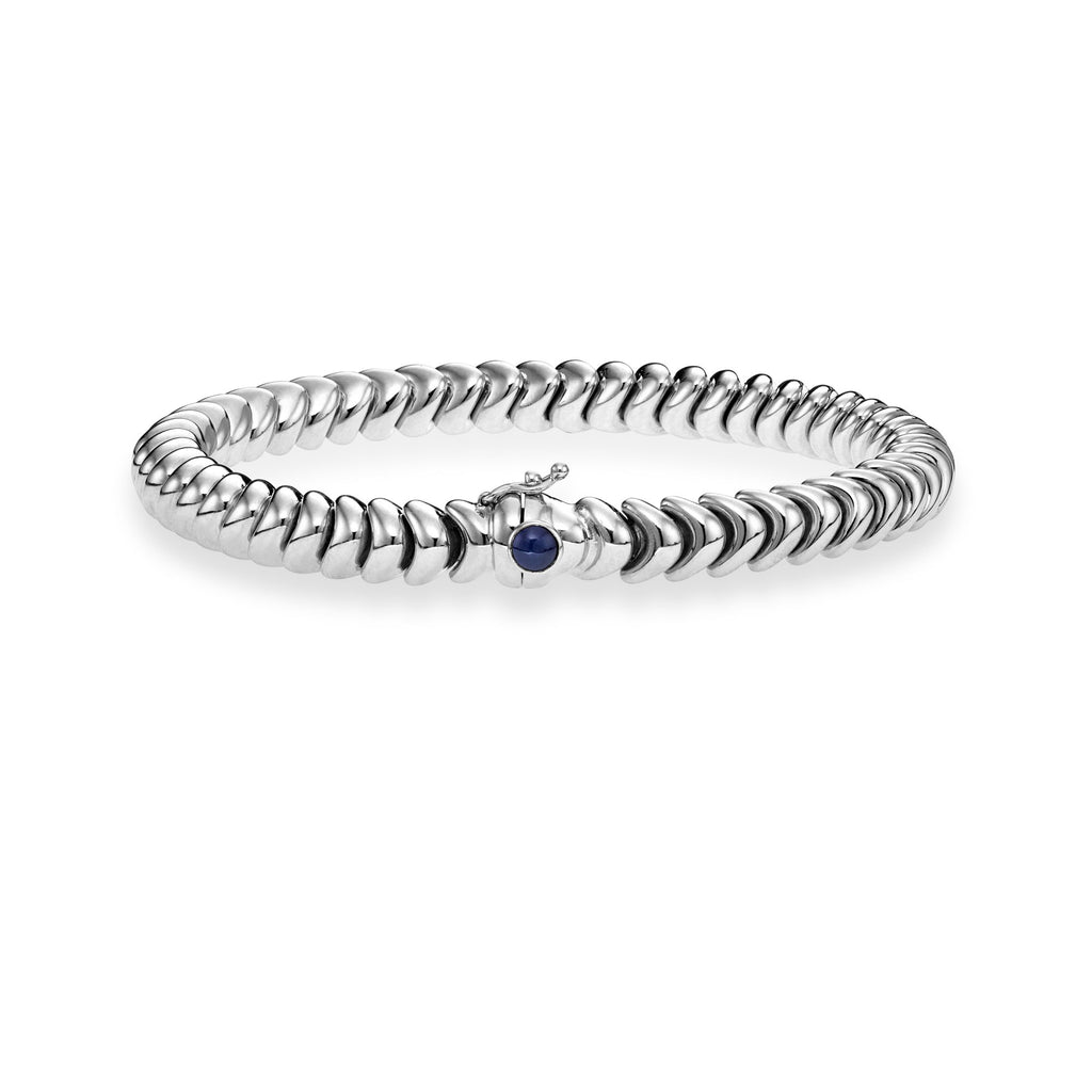14kt Gold 7.5 inches White Finish 6mm Polished Dragon Bracelet with Box Clasp with 0.4300ct Round Dark Blue Sapphire