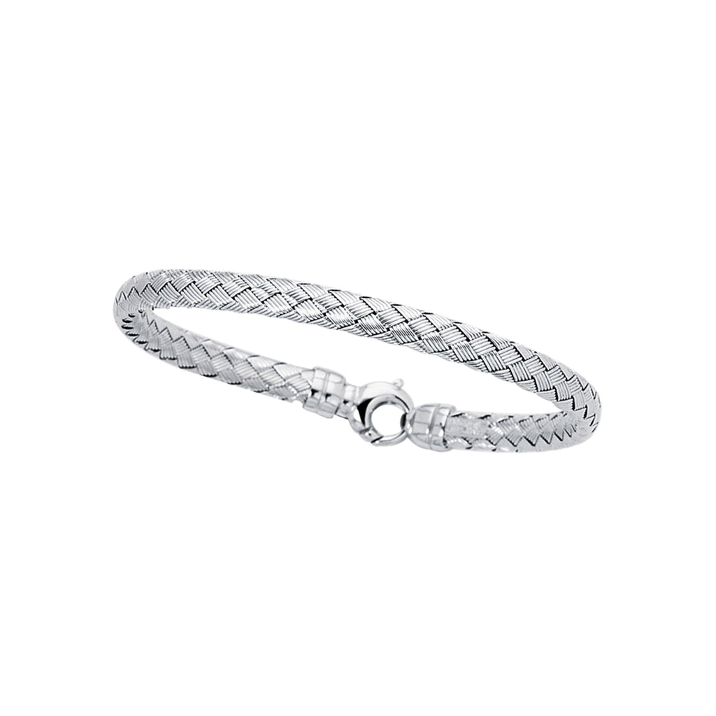 14kt 7.25 inches White Gold Shiny Round Basket Weaved Bangle with Lobster Clasp