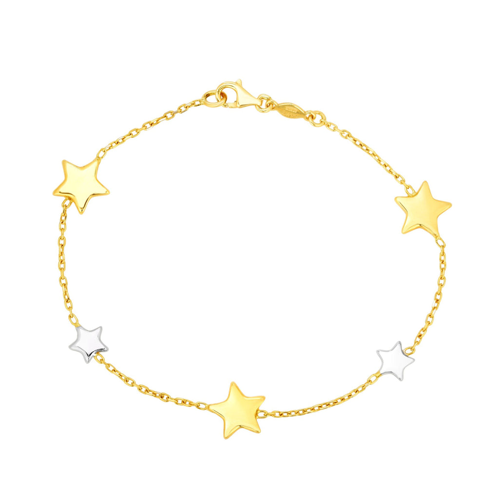 14kt Gold 7.5 inches Yellow+White Rhodium Finish 9.6mm Shiny Star Star Stationed Bracelet with Lobster Clasp