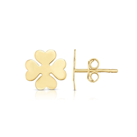 14kt Yellow Gold Four Leaf Clover Stud Earrings