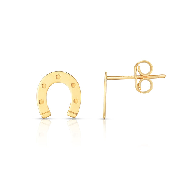14kt Yellow Gold Horseshoe Stud Earrings
