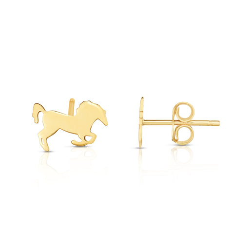 14kt Yellow Gold Horse Stud Earrings
