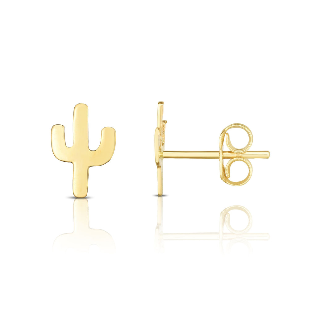 14kt Yellow Gold Cactus Stud Earring