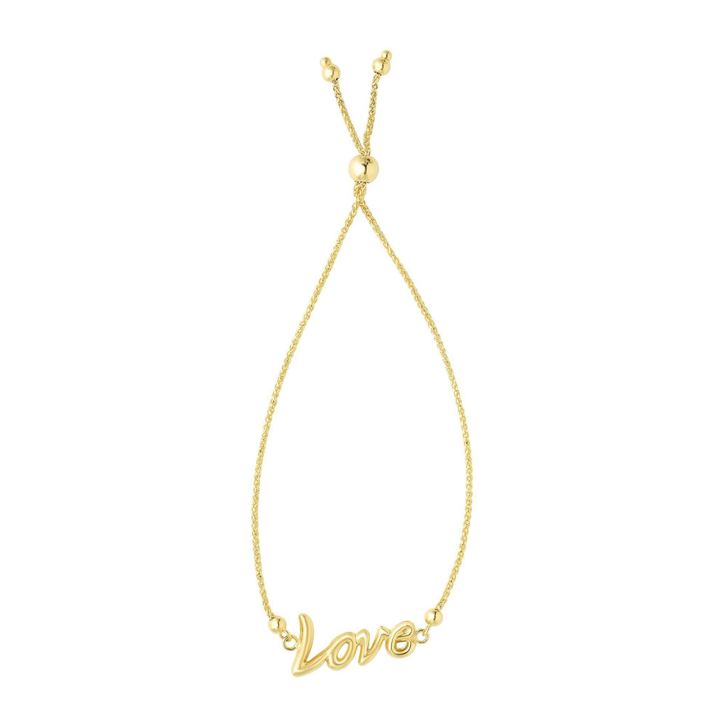 14kt Yellow Gold Bracelet with Bolo Clasp and 'Love'