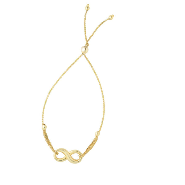 14kt Yellow Gold Bracelet with Infinity and Bolo Clasp