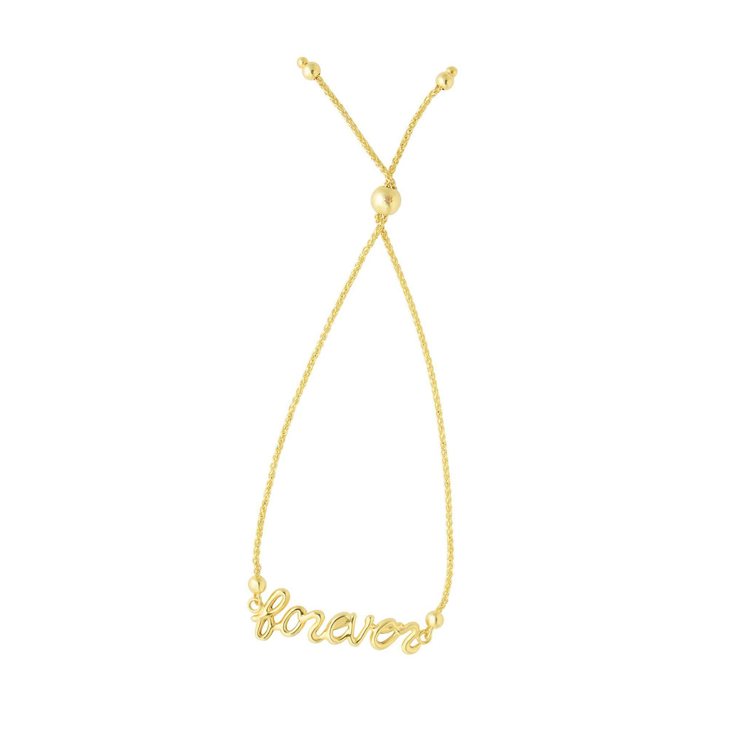 14kt Yellow Gold Bracelet with Bolo Clasp and 'Forever'