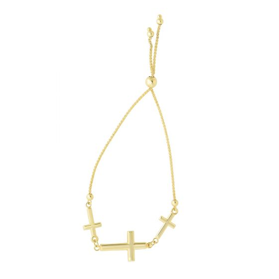 14kt Yellow Gold Bracelet with Three Crosses and Bolo Clasp