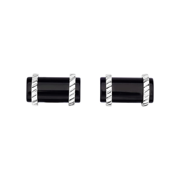 'Phillip Gavrie' Gents Cufflinks Sterling Silver and Black Agate