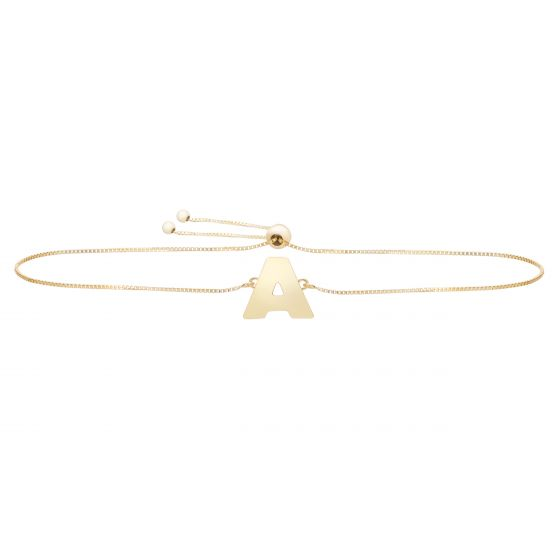 14kt Gold Initial Bracelet with Adjustable Draw String Clasp