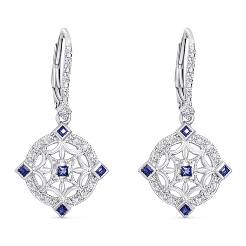 Sterling Silver Vintage Style Earrings with Sapphire and Diamond