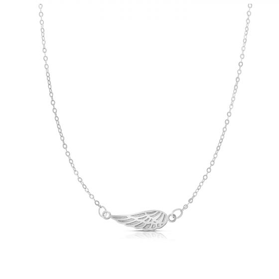 14kt White Gold Angel Wing Necklace