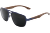 Glacier Blue Titanium Frame & Black Walnut Wood Sunglasses with Polarized Lenses