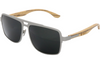Grey Titanium & Zebra Wood Sunglasses with Black Polarized Lenses