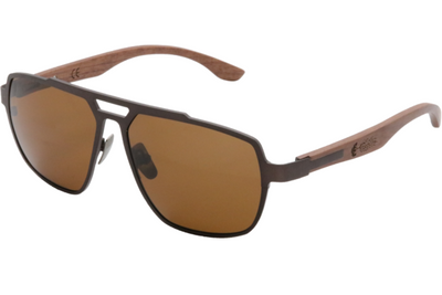 Giant Sequoia Brown Titanium & Red Rosewood Sunglasses with Polarized Lenses