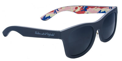 America Red, White & Blue Camo Wooden Sunglasses with Polarized Lenses