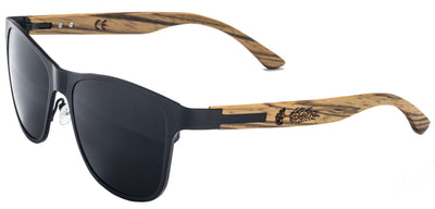 Black Titanium & Natural Zebra Wood Sunglasses with Polarized Lenses
