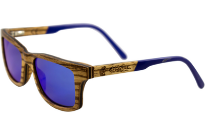 Zebra Wood Sunglasses with Polarized Blue Lenses
