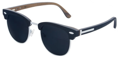 White Titanium & Black Walnut Wood Sunglasses with Polarized Lenses